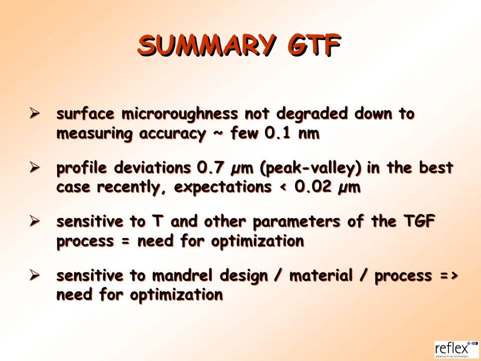 SUMMARY GTF surface microroughness not degraded down to measuring accuracy ~ few 0.1 nm.