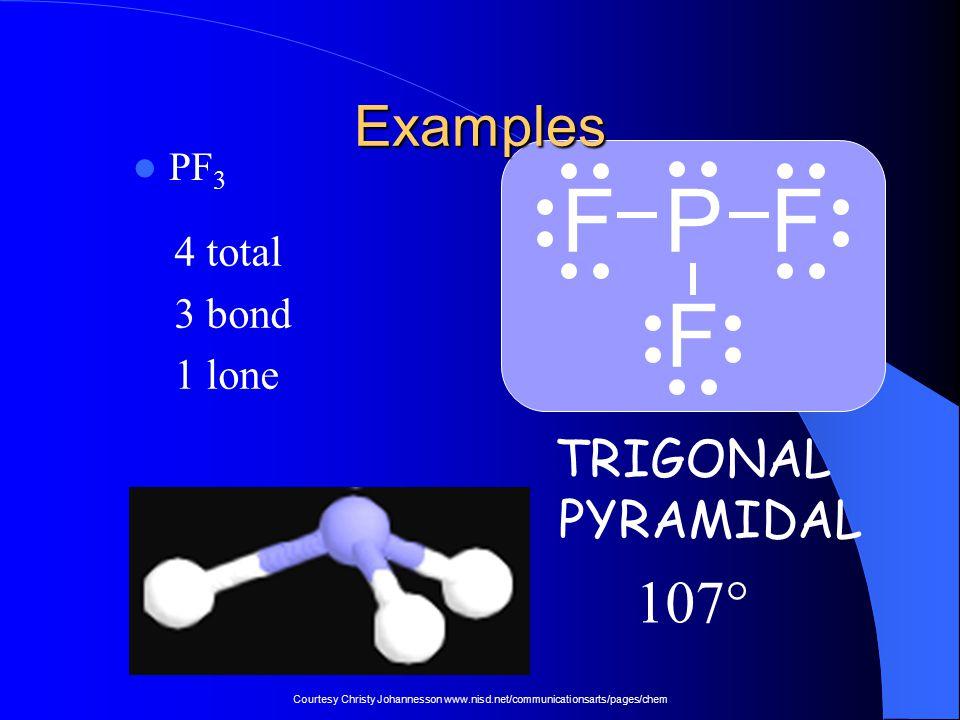 F P F F 107° Examples TRIGONAL PYRAMIDAL 4 total 3 bond 1 lone PF3