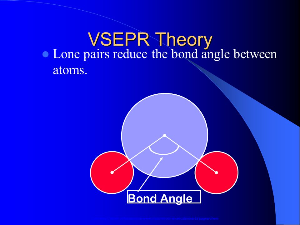 VSEPR Theory Lone pairs reduce the bond angle between atoms.