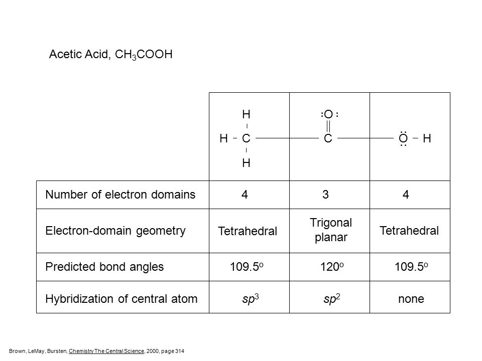 Number of electron domains 4 3 4