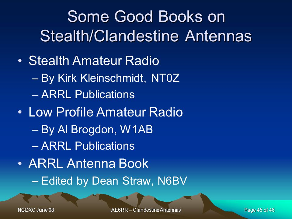 Some Good Books on Stealth/Clandestine Antennas