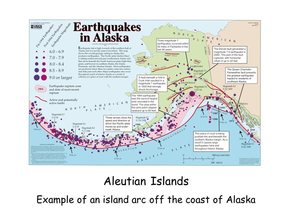 Example of an island arc off the coast of Alaska