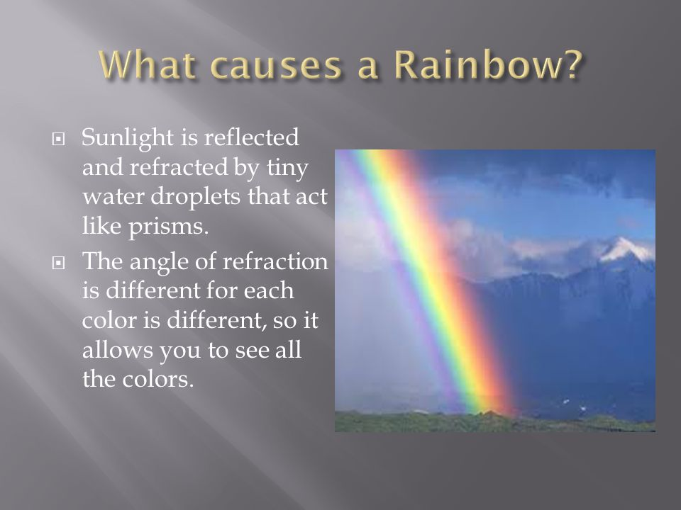 What causes a Rainbow Sunlight is reflected and refracted by tiny water droplets that act like prisms.