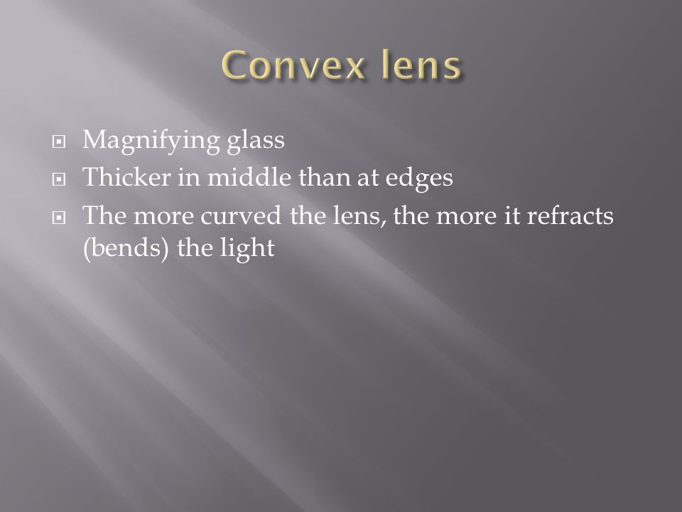 Convex lens Magnifying glass Thicker in middle than at edges
