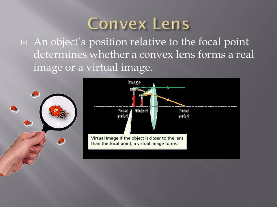 Convex Lens An object's position relative to the focal point determines whether a convex lens forms a real image or a virtual image.
