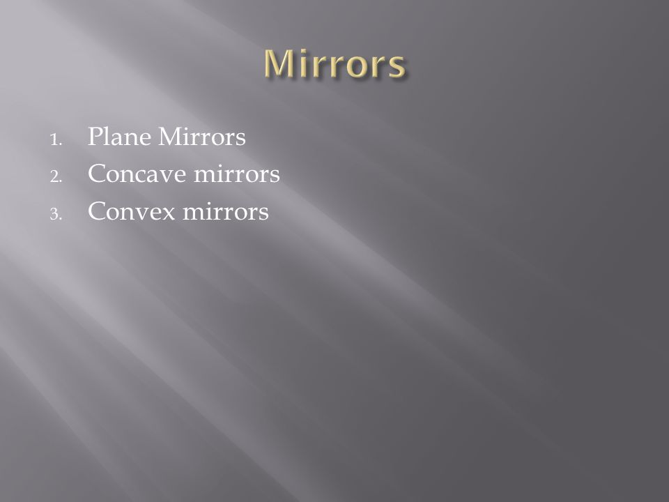 Mirrors Plane Mirrors Concave mirrors Convex mirrors