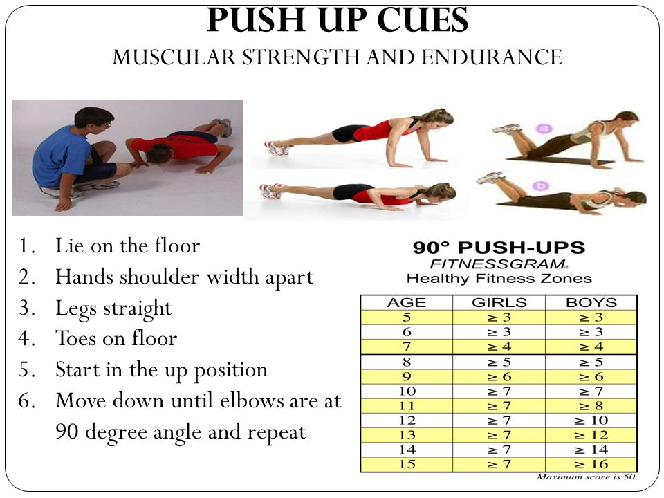 PUSH UP CUES MUSCULAR STRENGTH AND ENDURANCE Lie on the floor