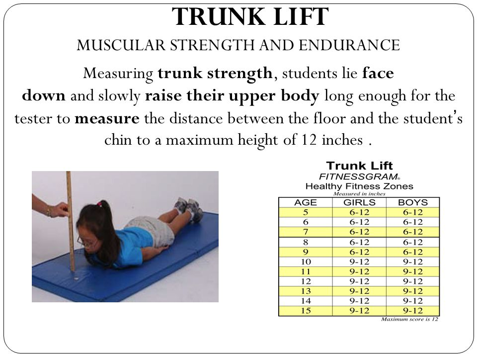 TRUNK LIFT MUSCULAR STRENGTH AND ENDURANCE