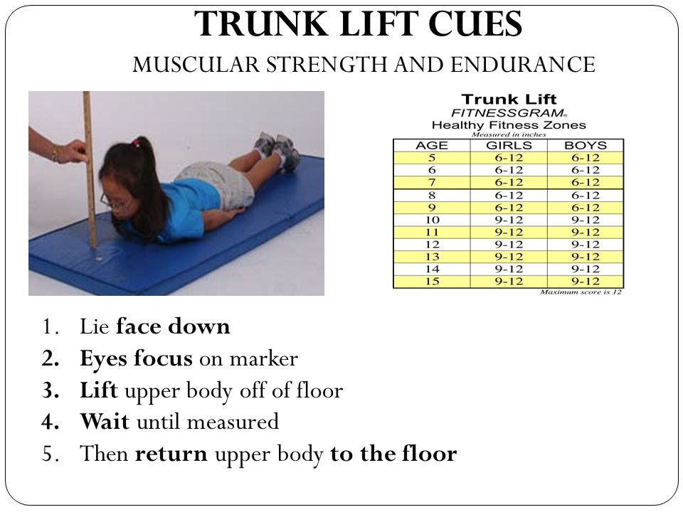 TRUNK LIFT CUES MUSCULAR STRENGTH AND ENDURANCE Lie face down