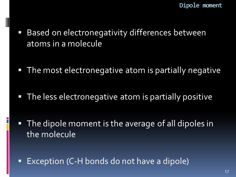 Based on electronegativity differences between atoms in a molecule