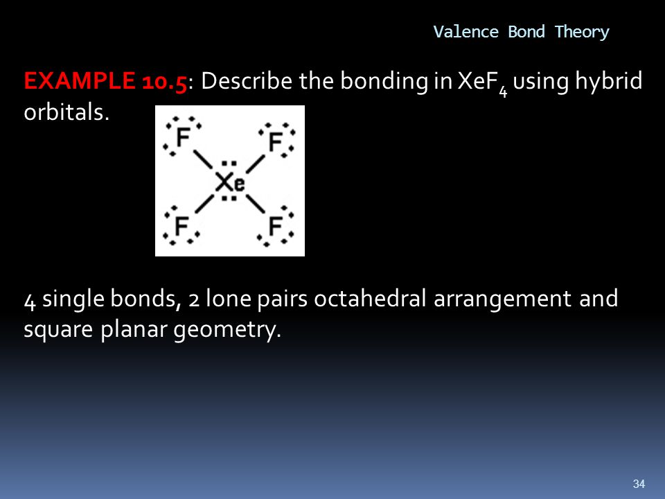 EXAMPLE 10.5: Describe the bonding in XeF4 using hybrid orbitals.