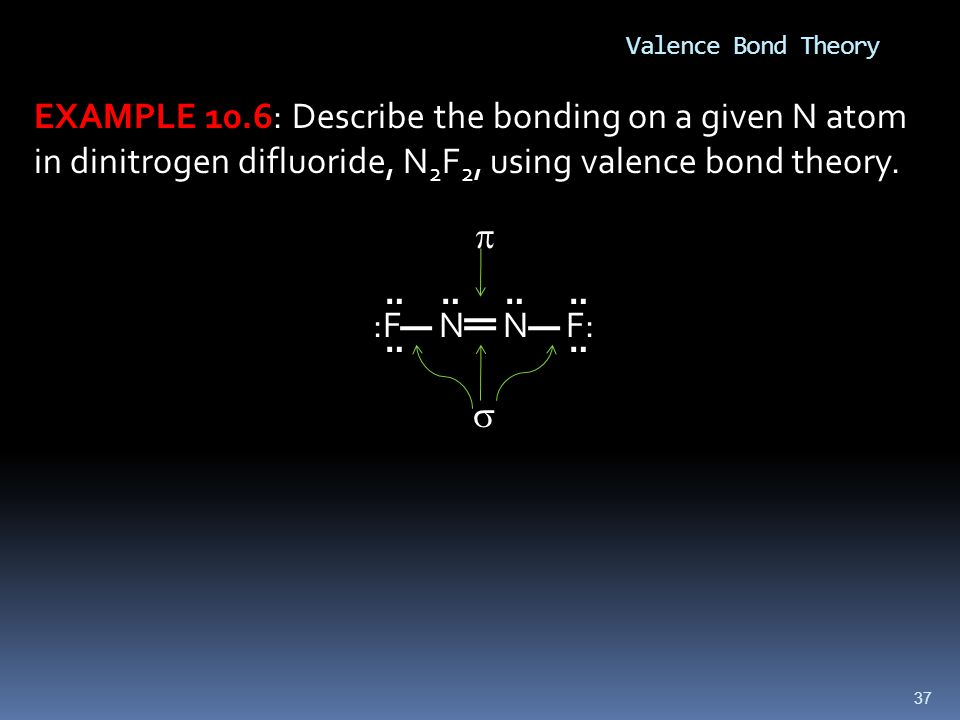 Valence Bond Theory EXAMPLE 10.6: Describe the bonding on a given N atom in dinitrogen difluoride, N2F2, using valence bond theory.