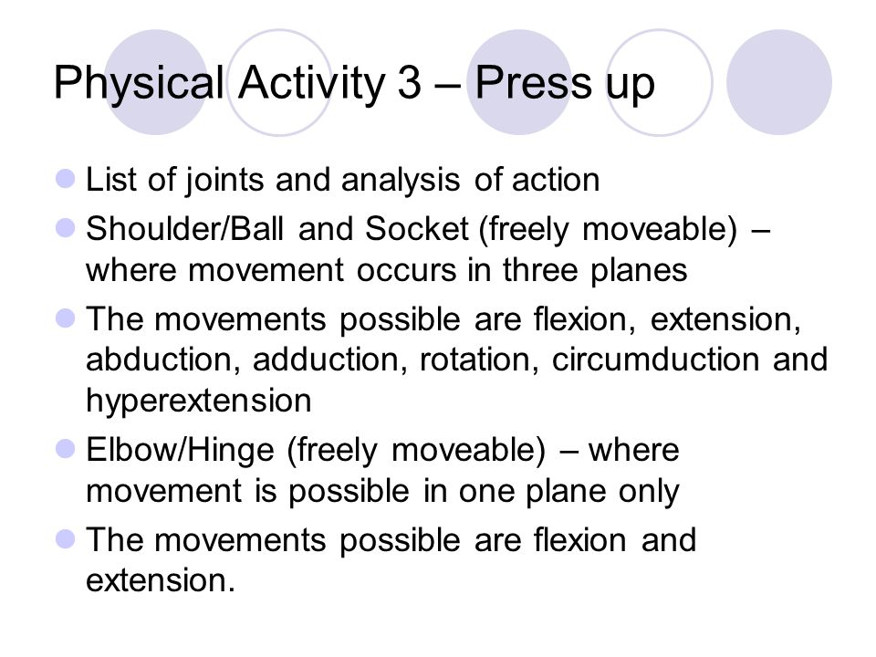 Physical Activity 3 – Press up
