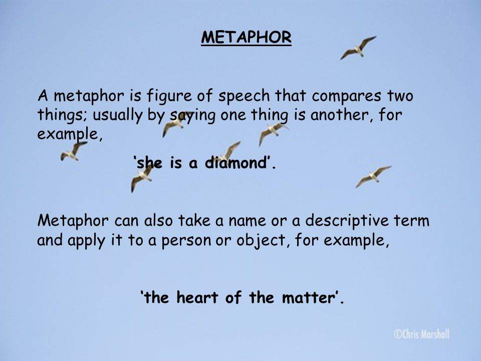 METAPHOR A metaphor is figure of speech that compares two things; usually by saying one thing is another, for example,
