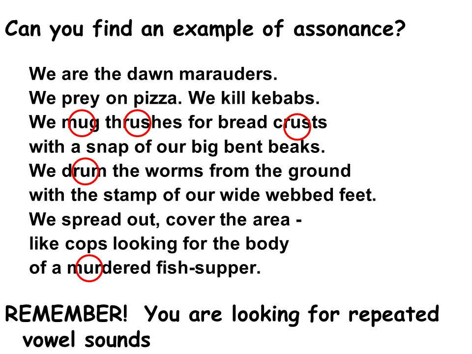 Can you find an example of assonance