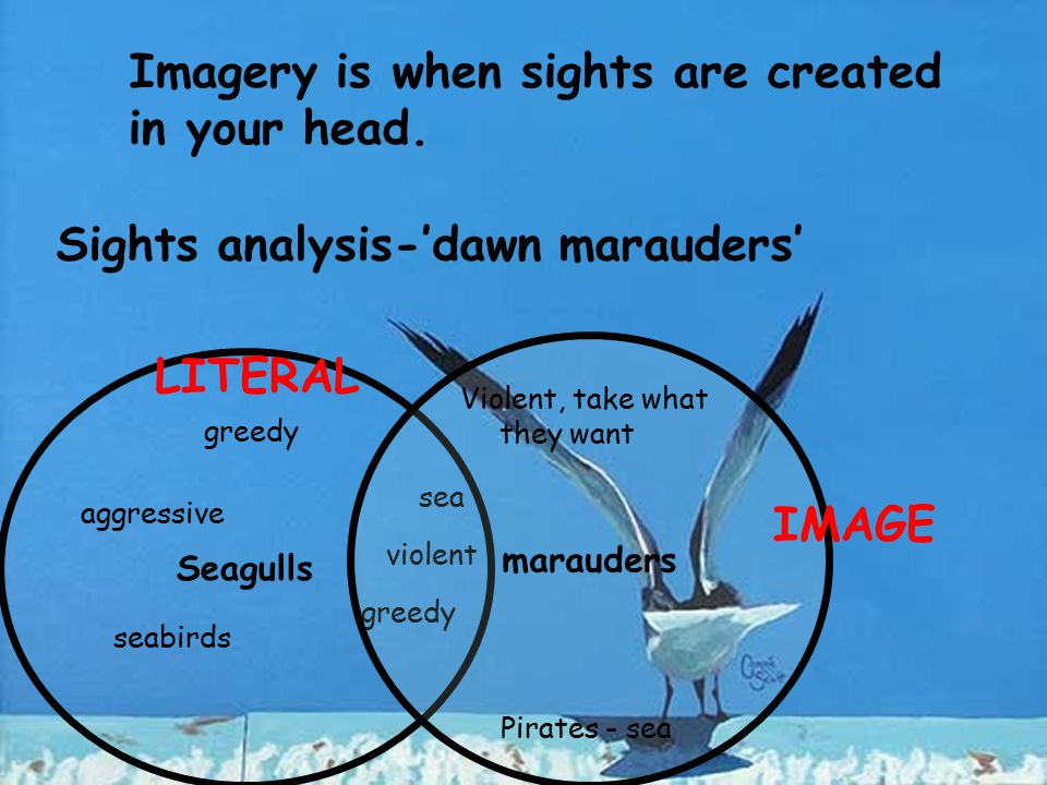 Imagery is when sights are created in your head.