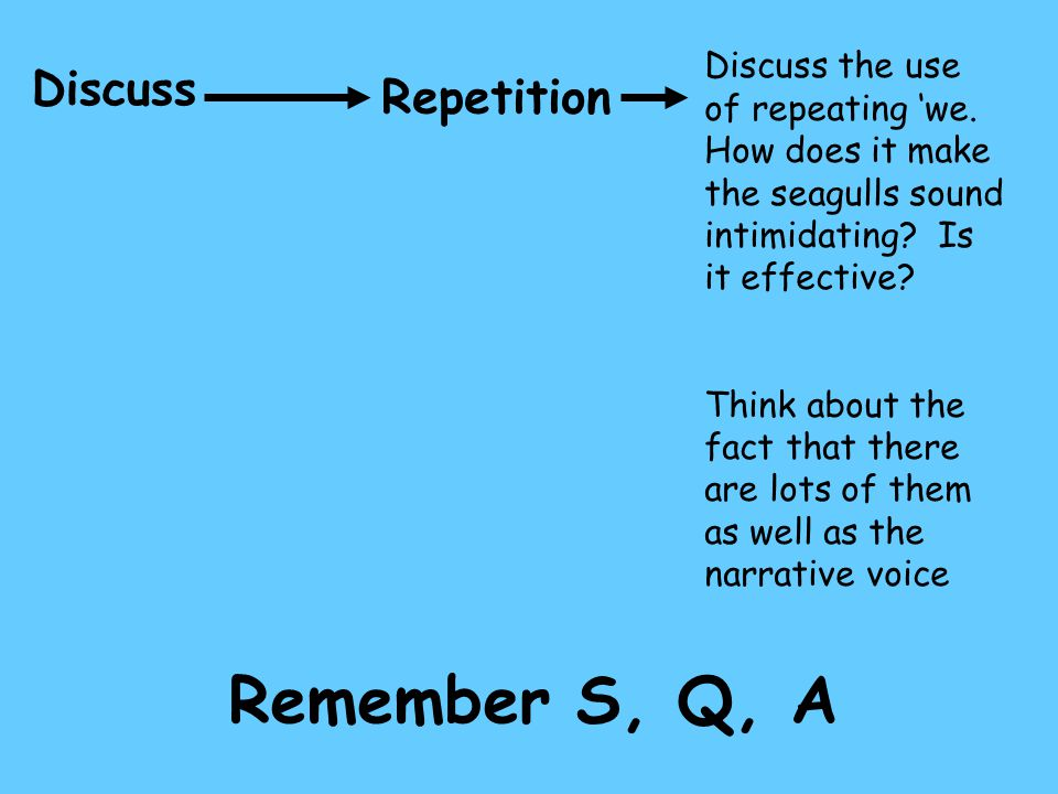 Remember S, Q, A Discuss Repetition