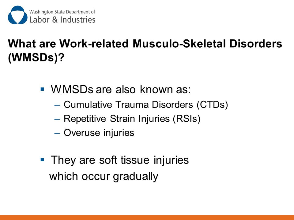 What are Work-related Musculo-Skeletal Disorders (WMSDs)