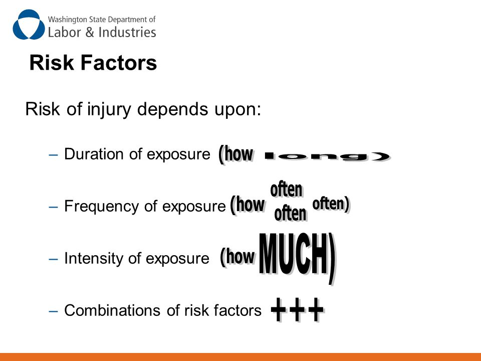 Risk Factors MUCH) +++ Risk of injury depends upon: