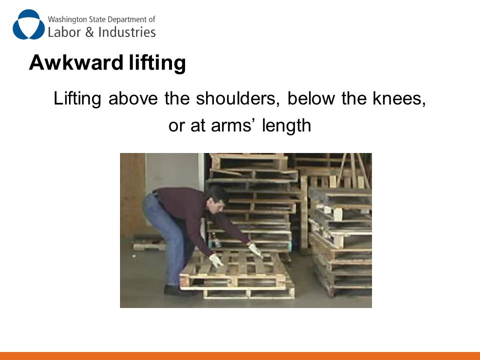 Lifting above the shoulders, below the knees,