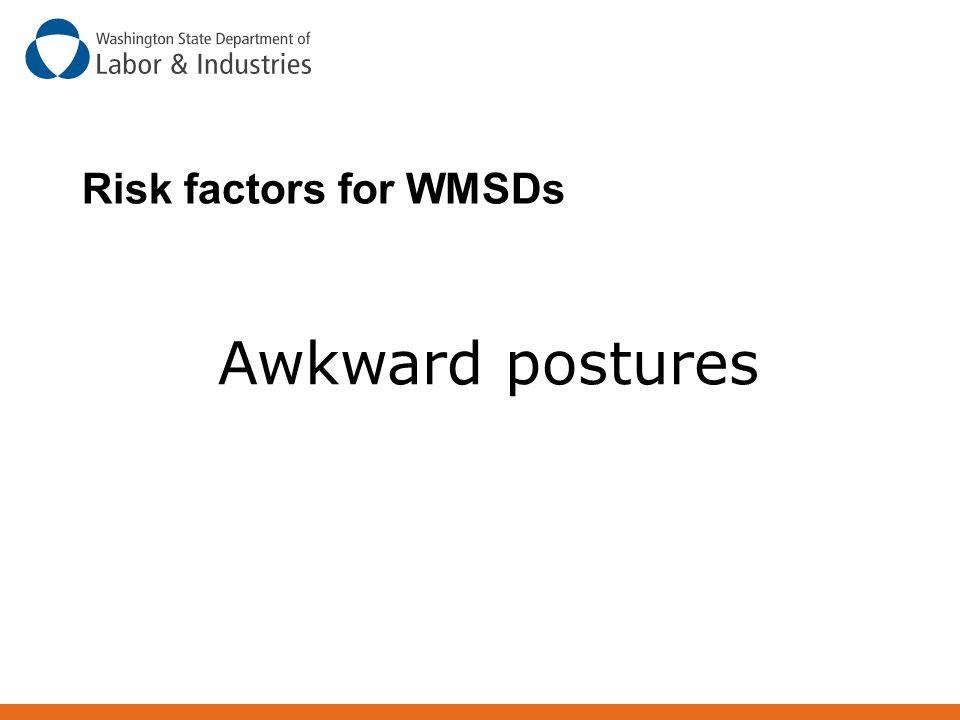Risk factors for WMSDs Awkward postures Awkward Postures