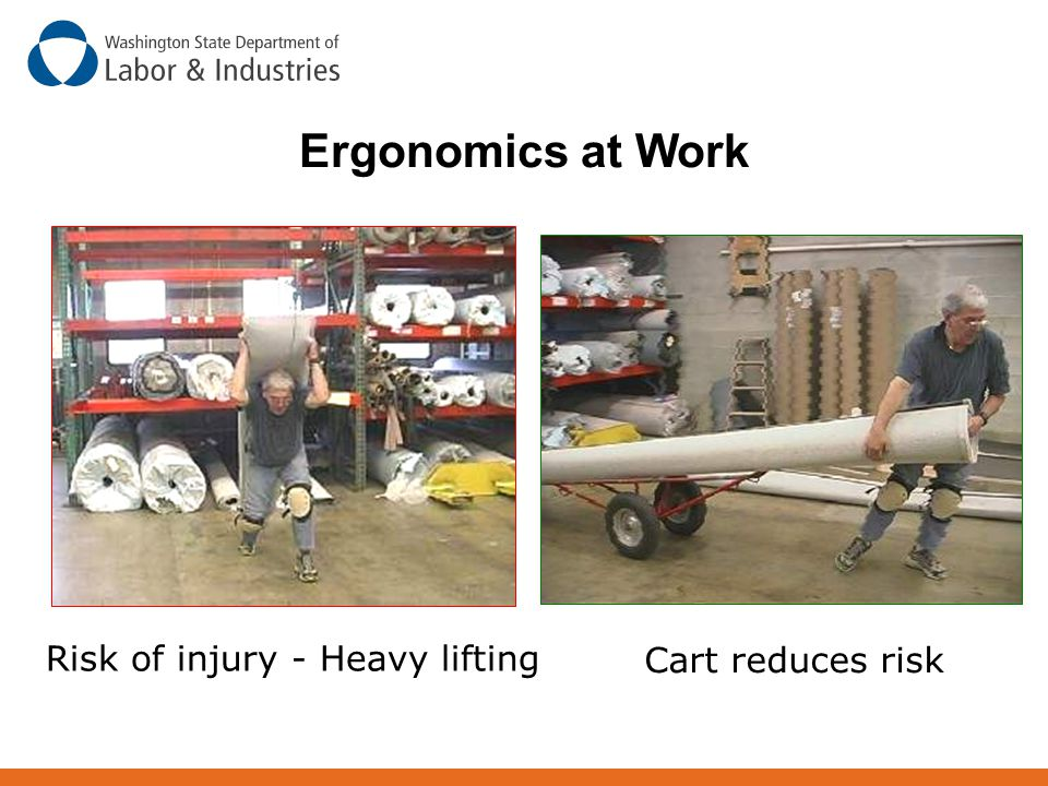 Ergonomics at Work Risk of injury - Heavy lifting Cart reduces risk