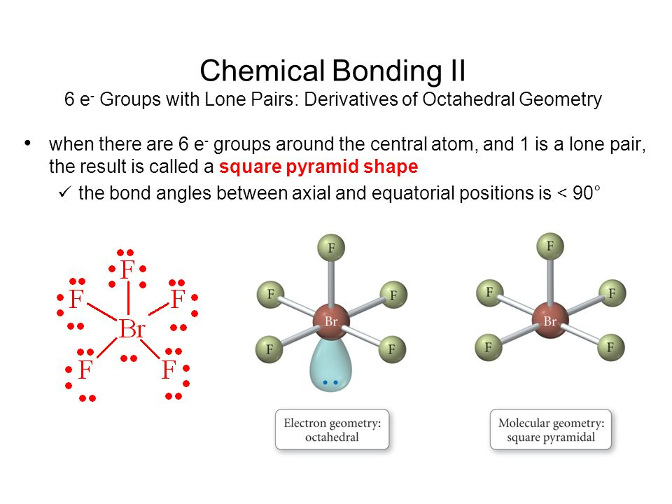Chemical Bonding II 6 e- Groups with Lone Pairs: Derivatives of Octahedral Geometry