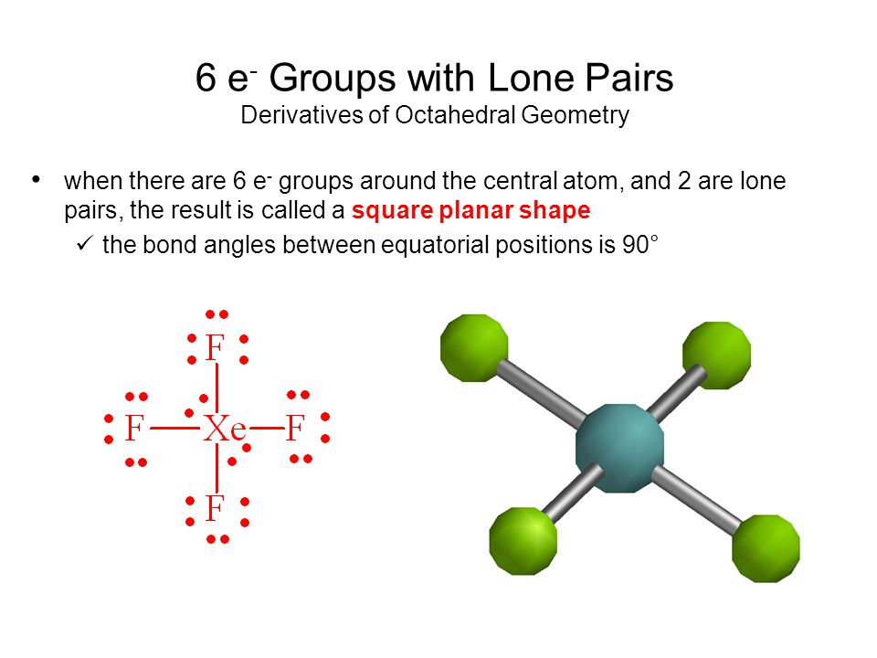 6 e- Groups with Lone Pairs Derivatives of Octahedral Geometry