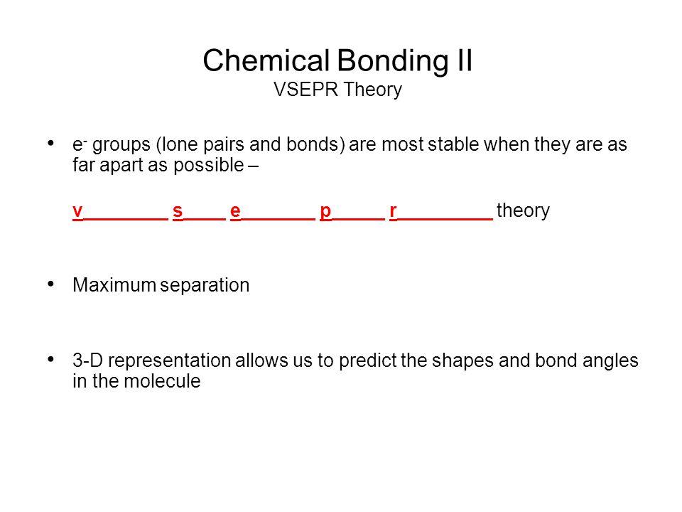 Chemical Bonding II VSEPR Theory