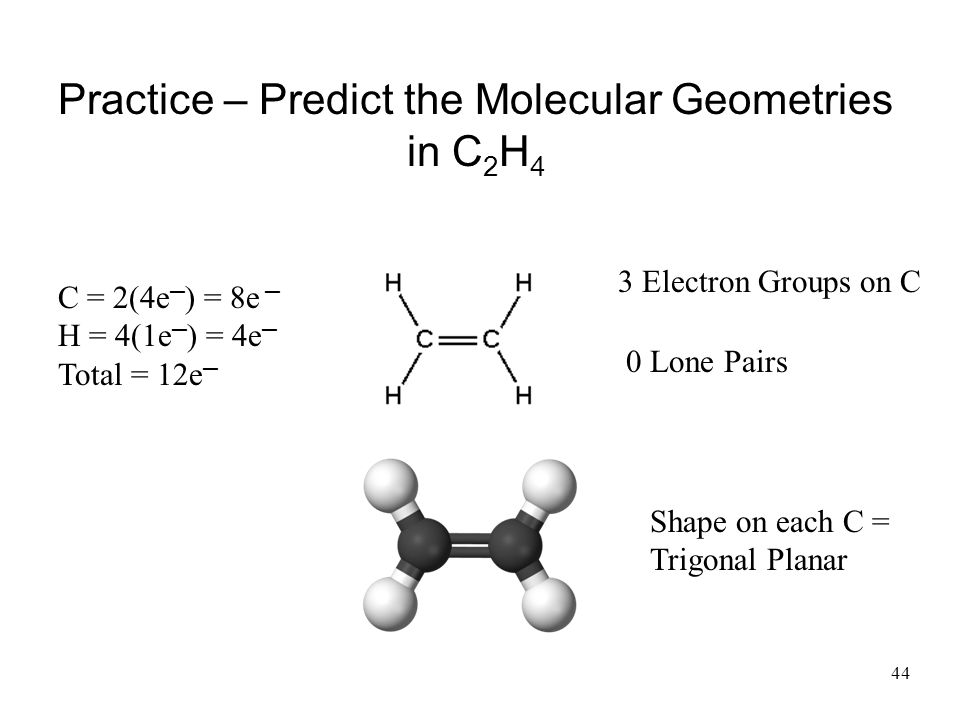 Practice – Predict the Molecular Geometries in C2H4