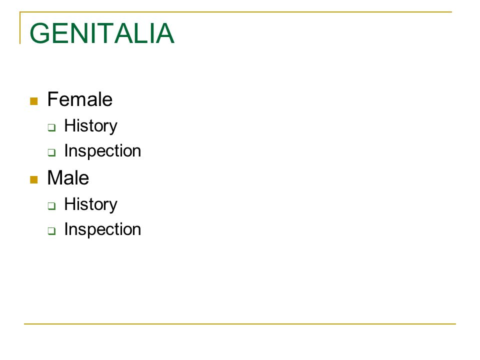 GENITALIA Female Male History Inspection