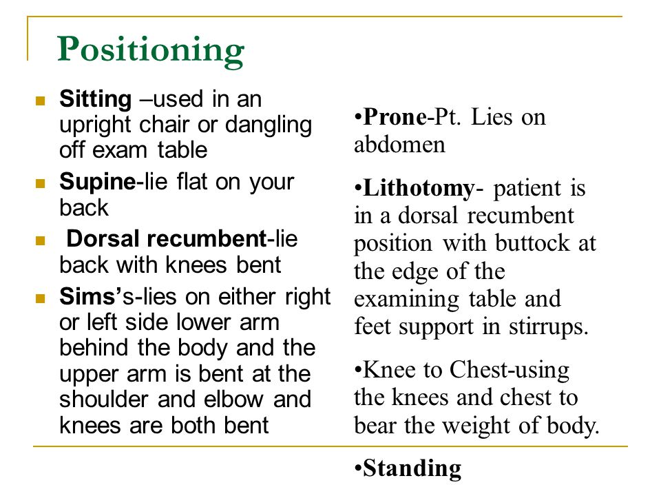 Positioning Prone-Pt. Lies on abdomen