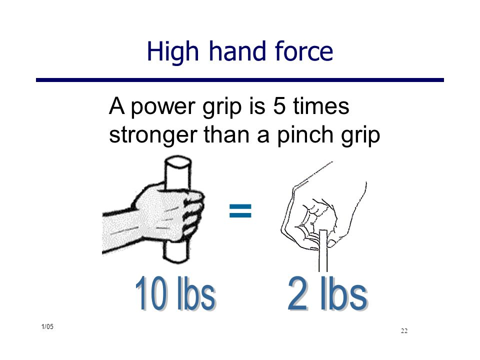 = High hand force A power grip is 5 times stronger than a pinch grip