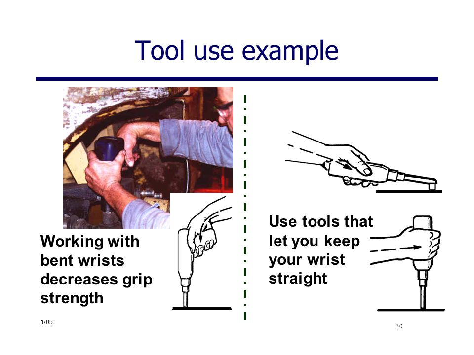 Tool use example Use tools that let you keep your wrist straight