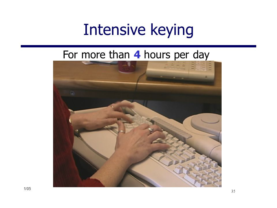 Intensive keying For more than 4 hours per day