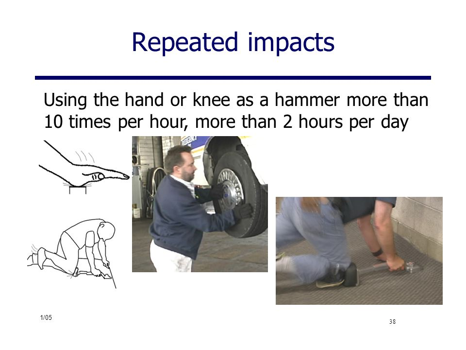 Repeated impacts Using the hand or knee as a hammer more than 10 times per hour, more than 2 hours per day.