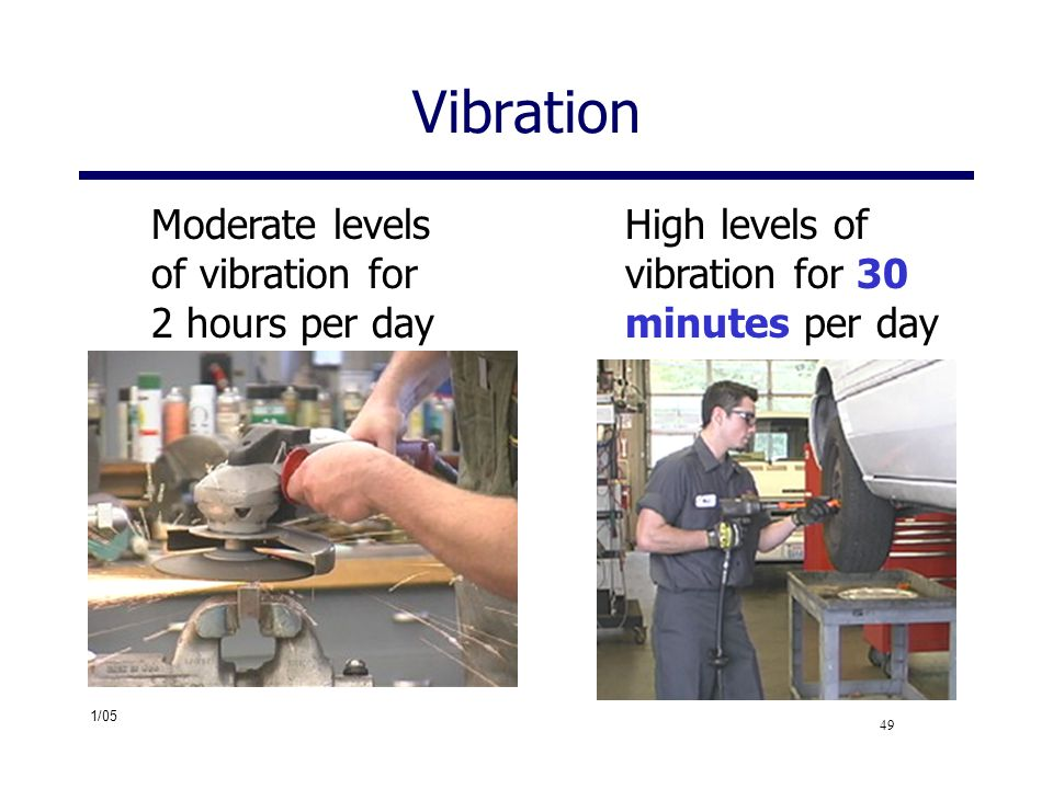 Vibration Moderate levels of vibration for 2 hours per day
