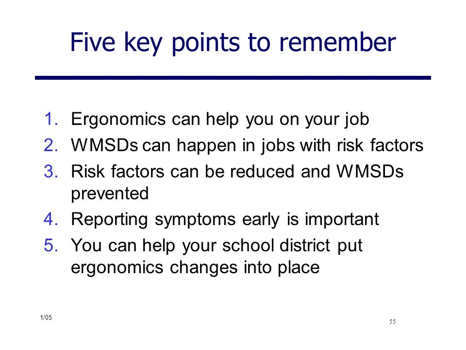 Five key points to remember