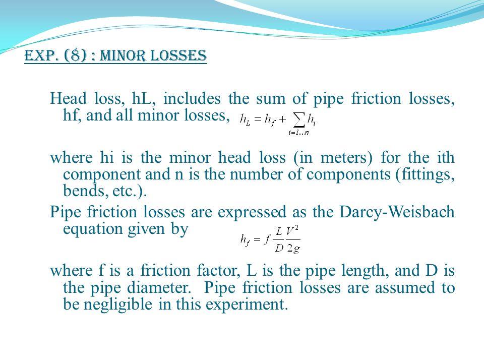 Exp. (8) : Minor Losses