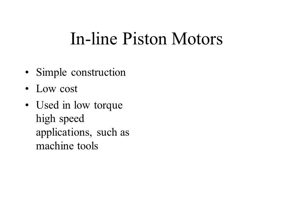 In-line Piston Motors Simple construction Low cost