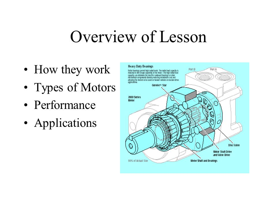 Overview of Lesson How they work Types of Motors Performance