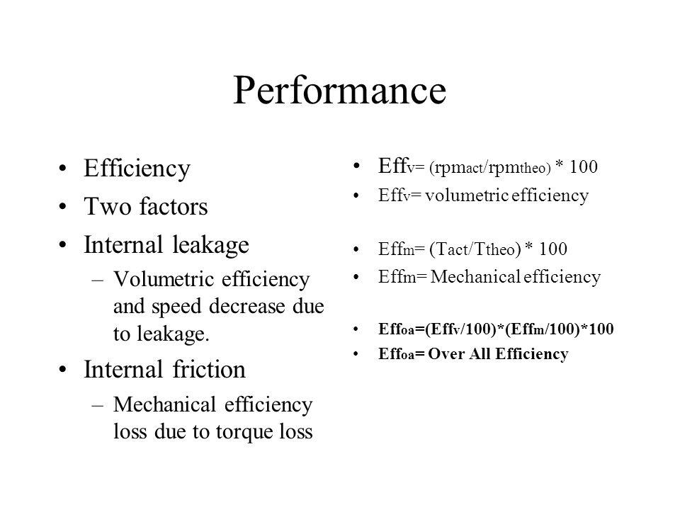 Performance Efficiency Two factors Internal leakage Internal friction