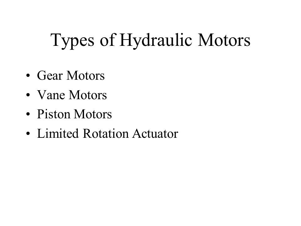 Types of Hydraulic Motors