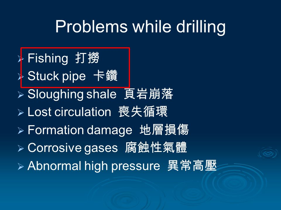 Problems while drilling