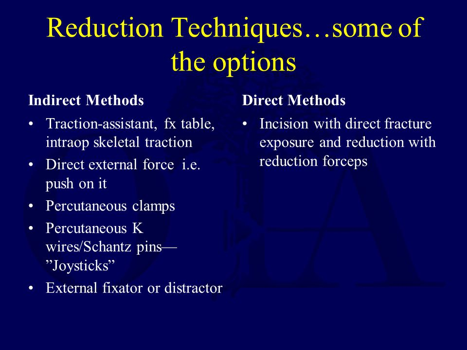 Reduction Techniques…some of the options