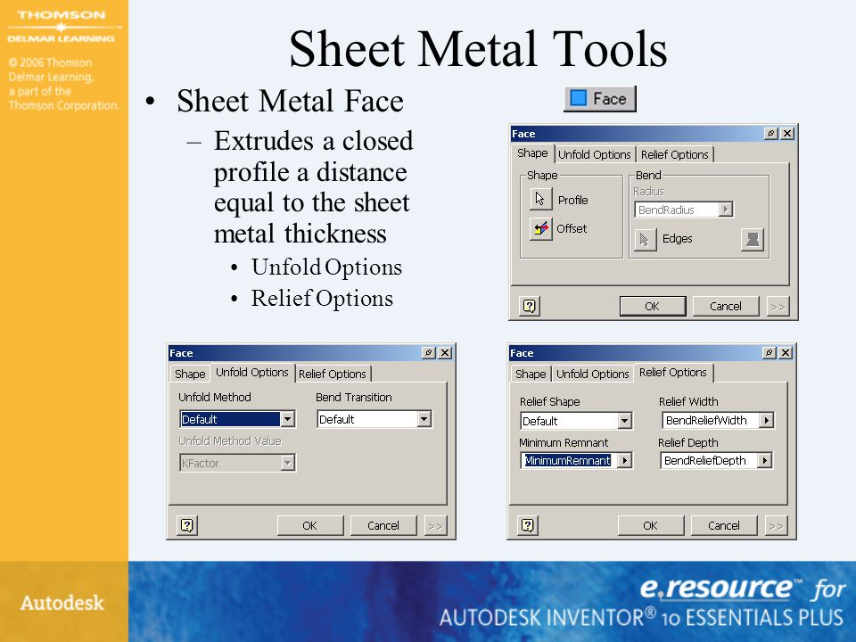 Sheet Metal Tools Sheet Metal Face