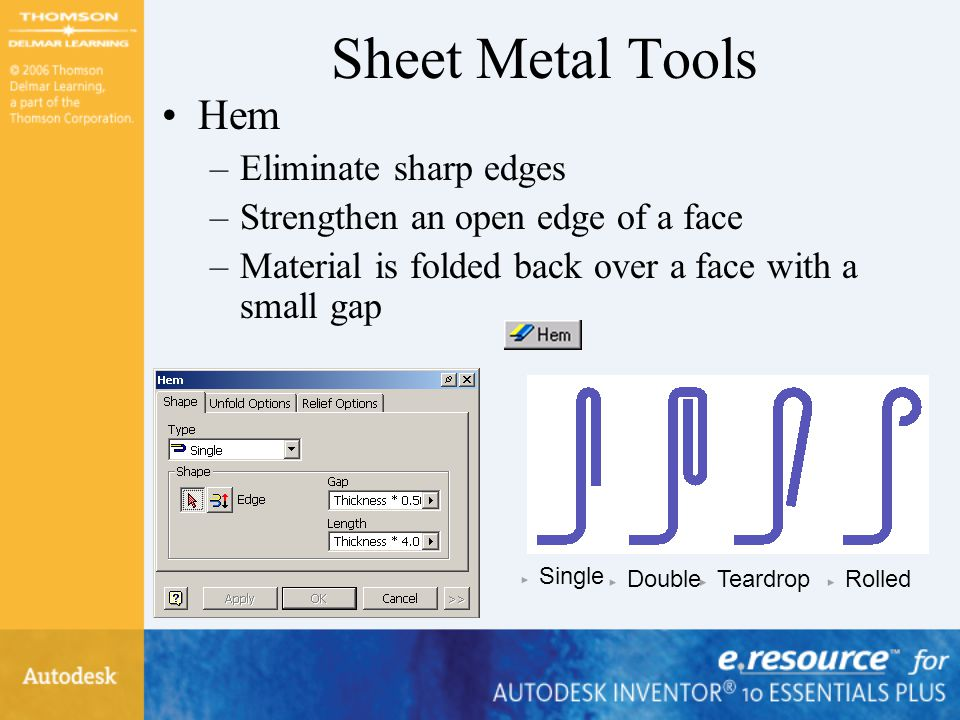 Sheet Metal Tools Hem Eliminate sharp edges