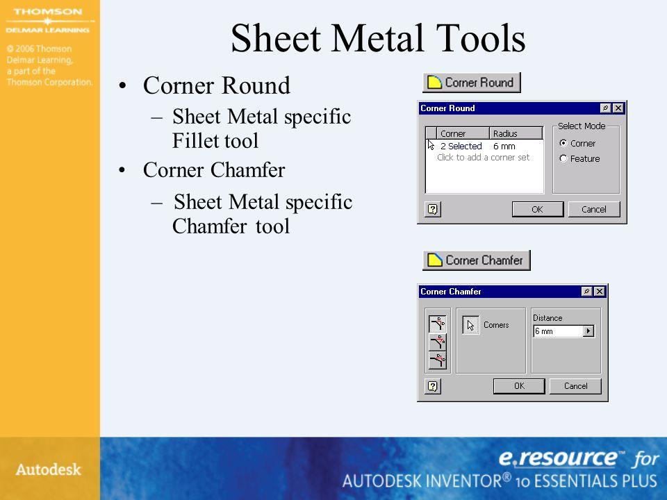 Sheet Metal Tools Corner Round Sheet Metal specific Fillet tool
