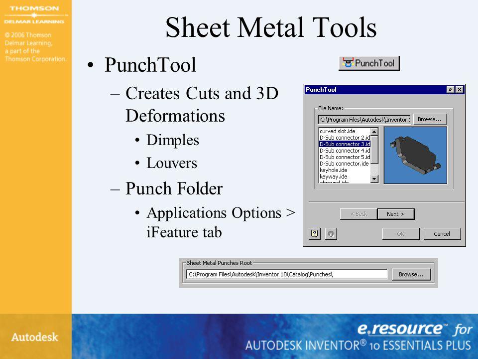 Sheet Metal Tools PunchTool Creates Cuts and 3D Deformations