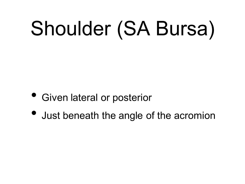 Shoulder (SA Bursa) Given lateral or posterior